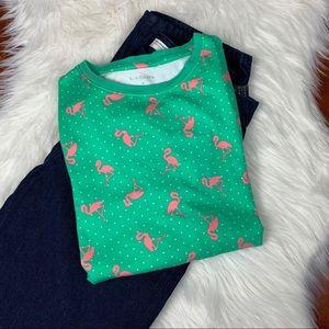 Kim Rogers Flamingo Polka Dot Short Sleeve Tee Med